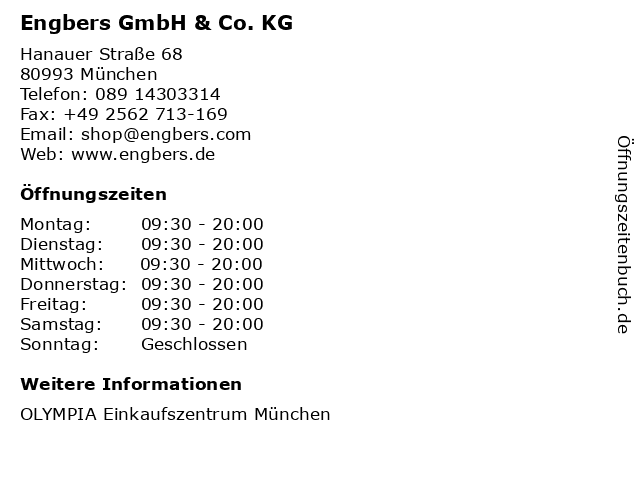 Engbers GmbH & Co. KG in München: Adresse und Öffnungszeiten