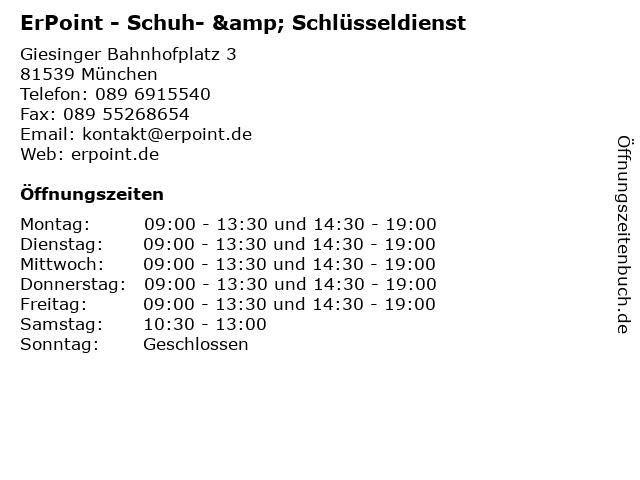 ErPoint - Schuh- & Schlüsseldienst in München: Adresse und Öffnungszeiten