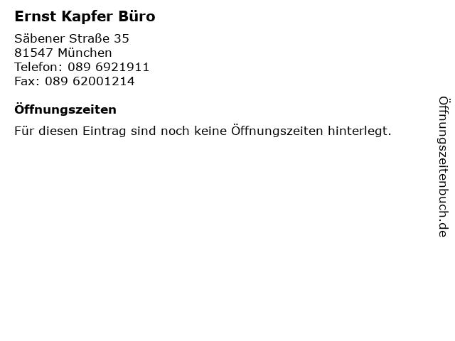 Ernst Kapfer Büro in München: Adresse und Öffnungszeiten