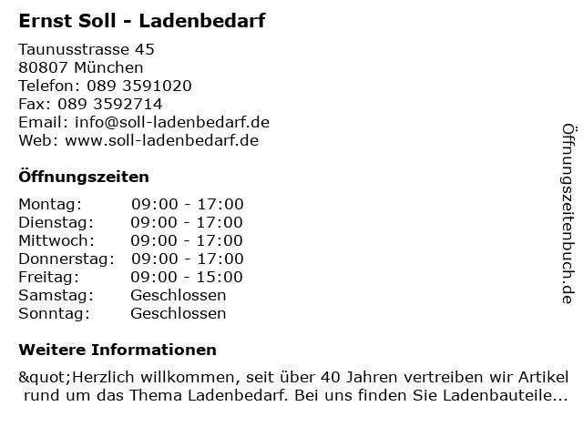 Ernst Soll - Ladenbedarf in München: Adresse und Öffnungszeiten