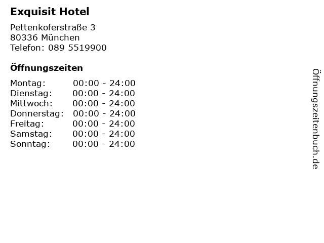Exquisit Hotel in München: Adresse und Öffnungszeiten
