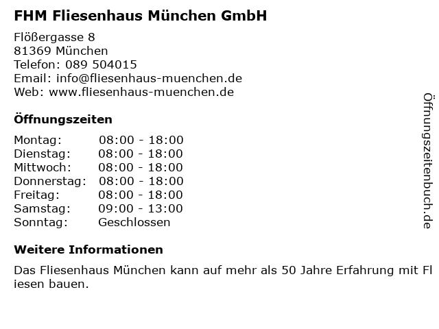 FHM Fliesenhaus München GmbH in München: Adresse und Öffnungszeiten