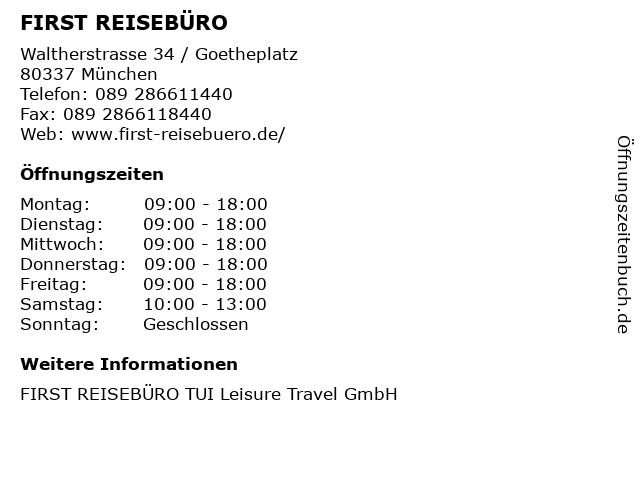 FIRST REISEBÜRO in München: Adresse und Öffnungszeiten