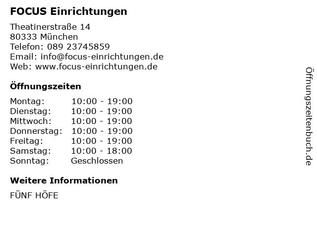FOCUS Einrichtungen in München: Adresse und Öffnungszeiten