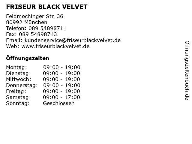 FRISEUR BLACK VELVET in München: Adresse und Öffnungszeiten