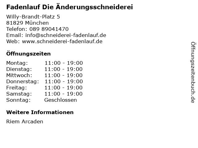 Fadenlauf Die Änderungsschneiderei in München: Adresse und Öffnungszeiten