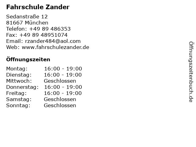 Fahrschule Zander in München: Adresse und Öffnungszeiten