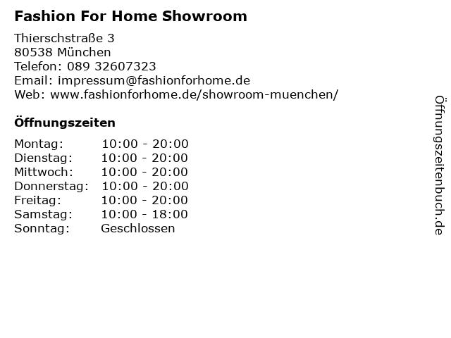 ᐅ öffnungszeiten Fashion For Home Showroom Thierschstraße 3 In