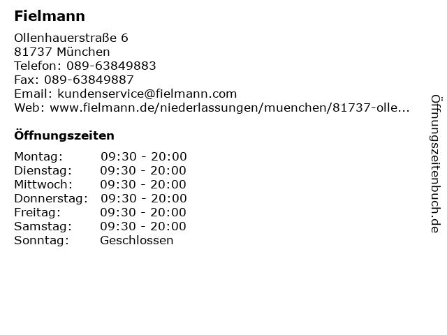 Fielmann in München: Adresse und Öffnungszeiten