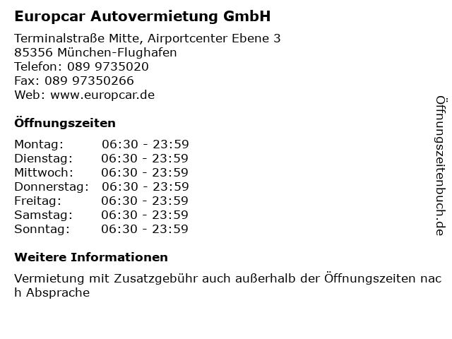 Europcar Autovermietung GmbH in München-Flughafen: Adresse und Öffnungszeiten