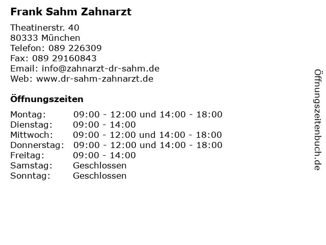 Frank Sahm Zahnarzt in München: Adresse und Öffnungszeiten