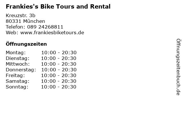 Frankies's Bike Tours and Rental in München: Adresse und Öffnungszeiten
