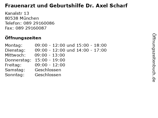 Frauenarzt und Geburtshilfe Dr. Axel Scharf in München: Adresse und Öffnungszeiten