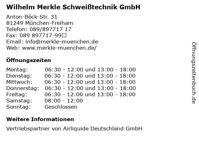 Wilhelm Merkle Schweißtechnik GmbH in München-Freiham: Adresse und Öffnungszeiten