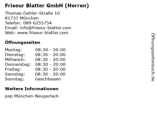 Friseur Blatter GmbH (Herren) in München: Adresse und Öffnungszeiten