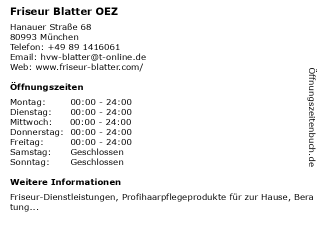 Friseur Blatter OEZ in München: Adresse und Öffnungszeiten