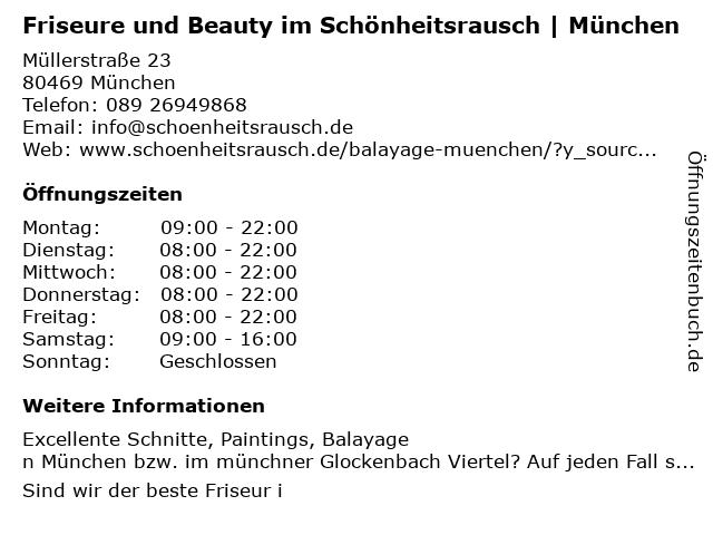 Friseur Schönheitsrausch in München: Adresse und Öffnungszeiten