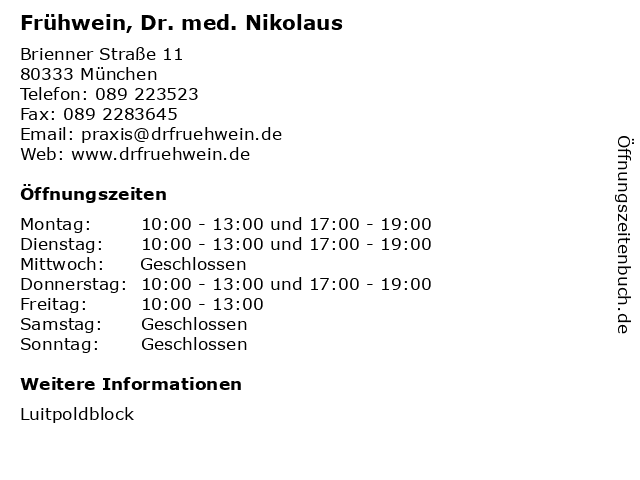 Frühwein, Dr. med. Nikolaus in München: Adresse und Öffnungszeiten