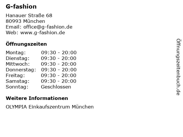 G-fashion in München: Adresse und Öffnungszeiten