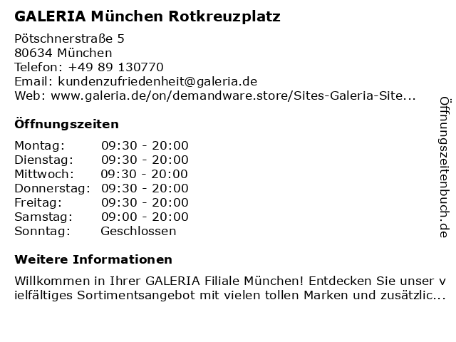 GALERIA Karstadt Kaufhof München Am Rotkreuzplatz in München: Adresse und Öffnungszeiten