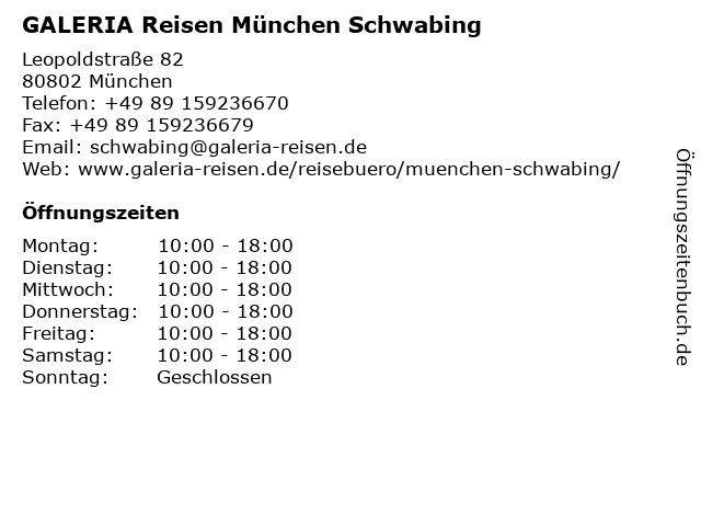 GALERIA Reisen München Schwabing in München: Adresse und Öffnungszeiten