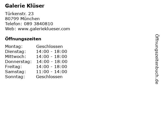 Galerie Klüser in München: Adresse und Öffnungszeiten
