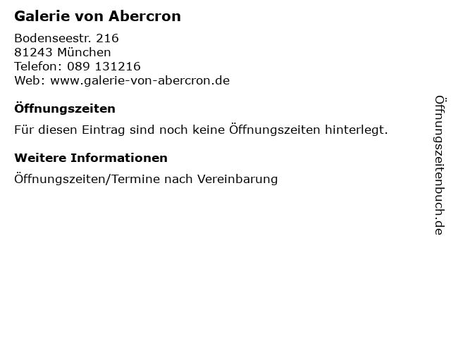 Galerie von Abercron in München: Adresse und Öffnungszeiten