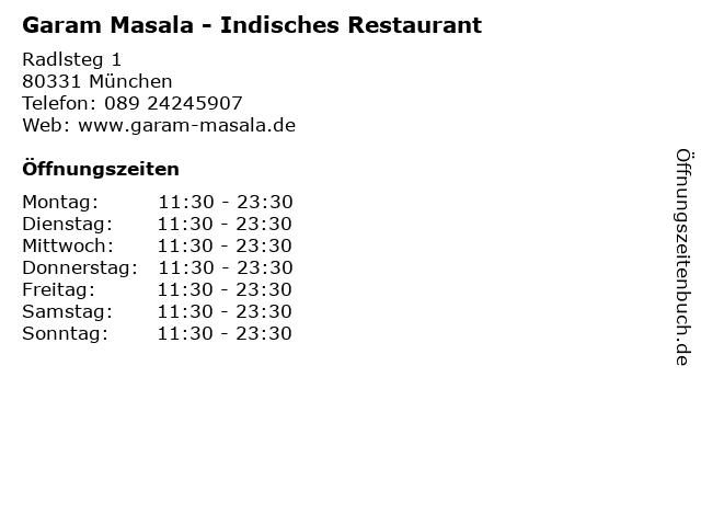 Garam Masala - Indisches Restaurant in München: Adresse und Öffnungszeiten
