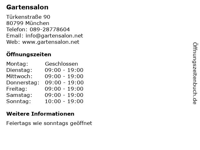 Gartensalon in München: Adresse und Öffnungszeiten