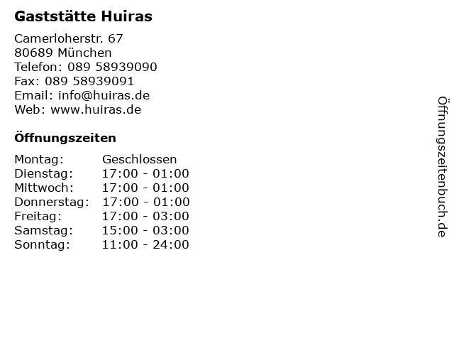 ᐅ öffnungszeiten Gaststätte Huiras Camerloherstr 67 In München