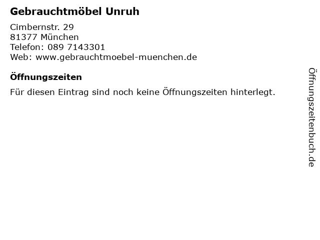ᐅ öffnungszeiten Gebrauchtmöbel Unruh Cimbernstr 29 In München