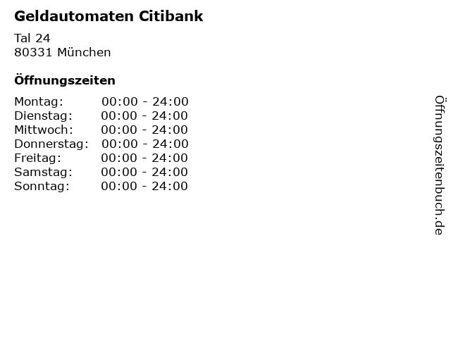 Geldautomaten Citibank in München: Adresse und Öffnungszeiten