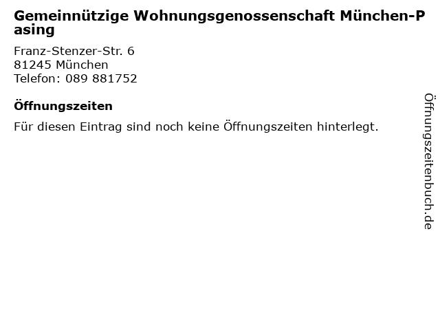 Gemeinnützige Wohnungsgenossenschaft München-Pasing in München: Adresse und Öffnungszeiten