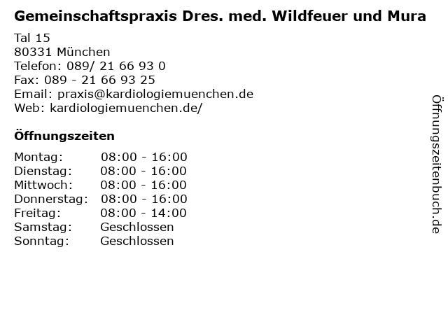 Gemeinschaftspraxis Dres. med. Wildfeuer und Mura in München: Adresse und Öffnungszeiten