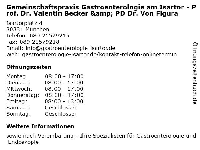 Gemeinschaftspraxis Gastroenterologie am Isartor - Prof. Dr. Valentin Becker & PD Dr. Von Figura in München: Adresse und Öffnungszeiten