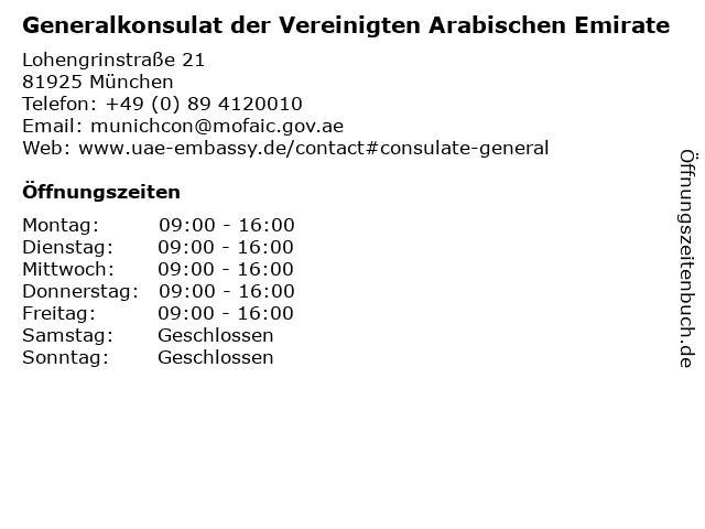 Generalkonsulat der Vereinigten Arabischen Emirate in München: Adresse und Öffnungszeiten