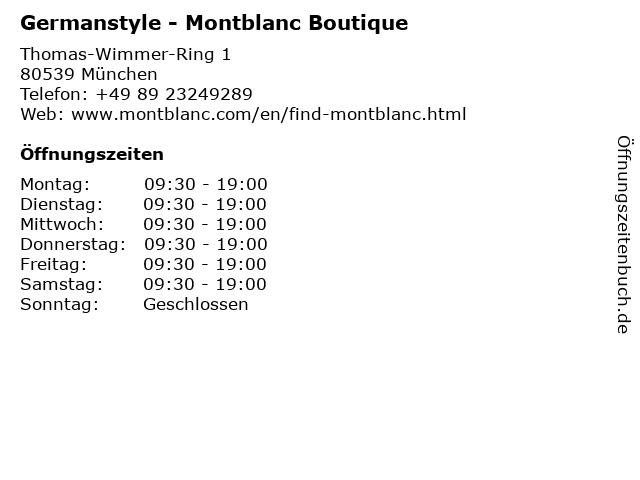 Germanstyle - Montblanc Boutique in München: Adresse und Öffnungszeiten