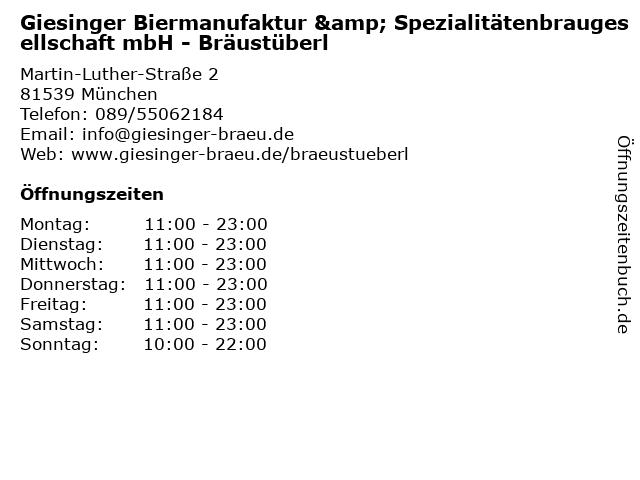 Giesinger Biermanufaktur & Spezialitätenbraugesellschaft mbH - Bräustüberl in München: Adresse und Öffnungszeiten