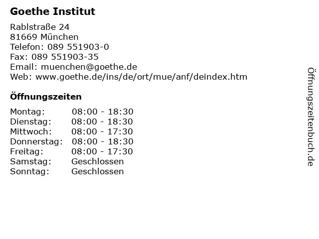 Goethe Institut in München: Adresse und Öffnungszeiten