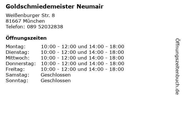 Goldschmiedemeister Neumair in München: Adresse und Öffnungszeiten