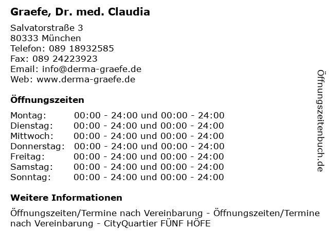 Graefe, Dr. med. Claudia in München: Adresse und Öffnungszeiten