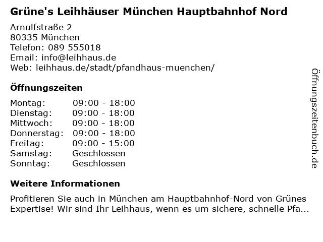 Grüne's Leihhäuser München Hauptbahnhof Nord in München: Adresse und Öffnungszeiten