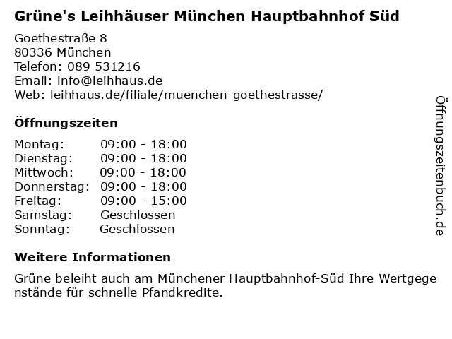 Grüne's Leihhäuser München Hauptbahnhof Süd in München: Adresse und Öffnungszeiten