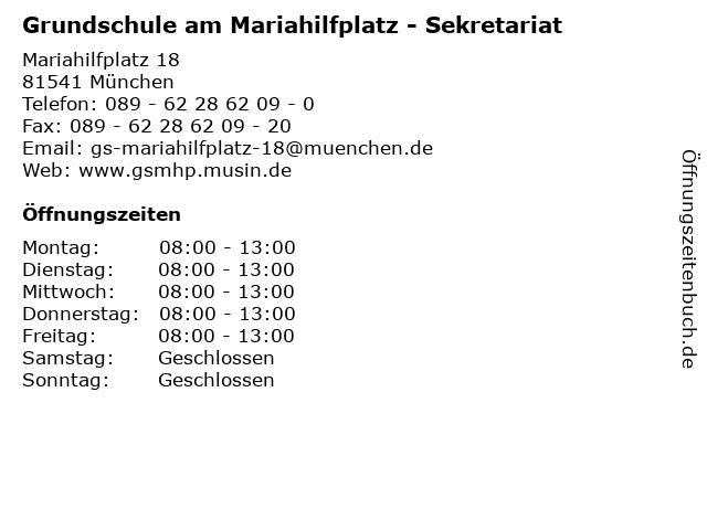 Grundschule am Mariahilfplatz - Sekretariat in München: Adresse und Öffnungszeiten
