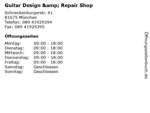 Guitar Design & Repair Shop in München: Adresse und Öffnungszeiten