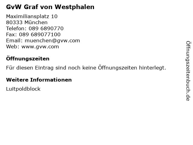 GvW Graf von Westphalen in München: Adresse und Öffnungszeiten