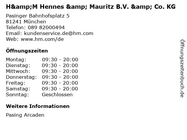 H&M Hennes & Mauritz B.V. & Co. KG in München: Adresse und Öffnungszeiten