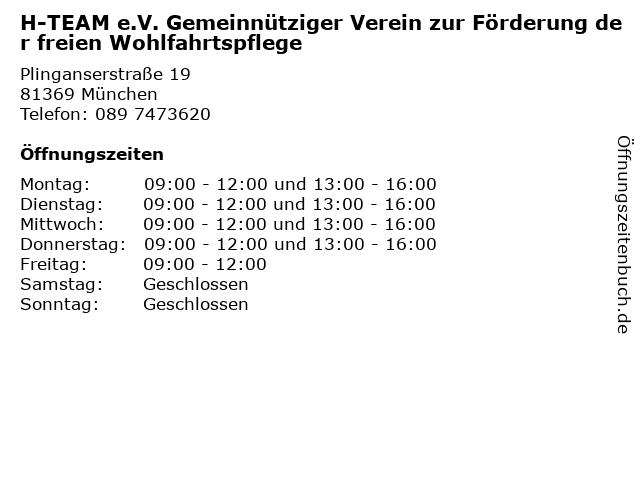 H-TEAM e.V. Gemeinnütziger Verein zur Förderung der freien Wohlfahrtspflege in München: Adresse und Öffnungszeiten
