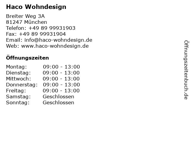 ᐅ Offnungszeiten Haco Wohndesign Breiter Weg 3a In Munchen
