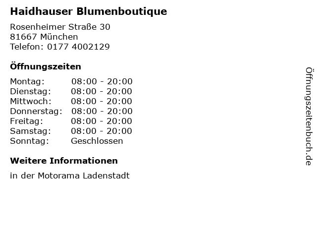 Haidhauser Blumenboutique in München: Adresse und Öffnungszeiten